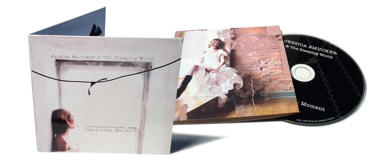 Inside booklet, cover, and compact disk of Jessica Smucker's album 'This Broken Moment'