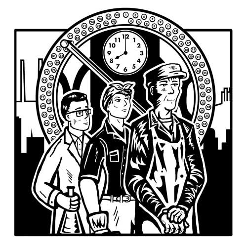 Black and white illustration of workers standing in front of an industrial punch clock